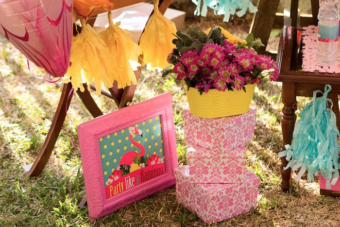 Sign + Decor from a Flamingo Garden Party via Kara's Party Ideas - KarasPartyIdeas.com (4)
