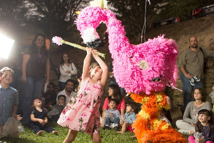 Piñata Time from a Flamingo Garden Party via Kara's Party Ideas - KarasPartyIdeas.com (29)