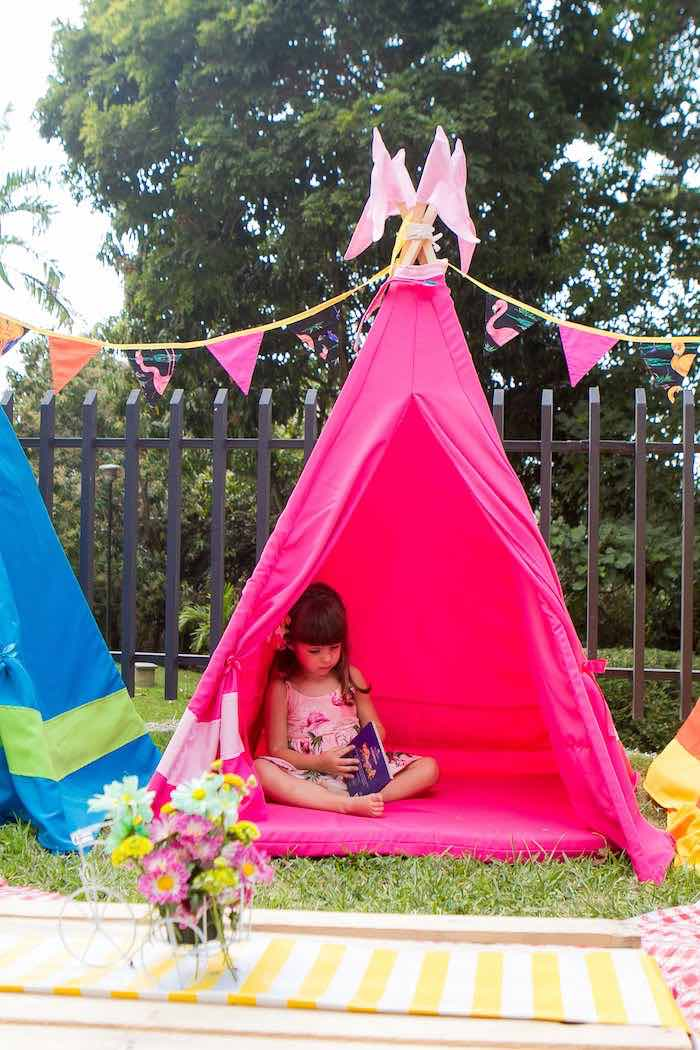 Birthday Girl in a Pink Teepee from a Flamingo Garden Party via Kara's Party Ideas - KarasPartyIdeas.com (28)