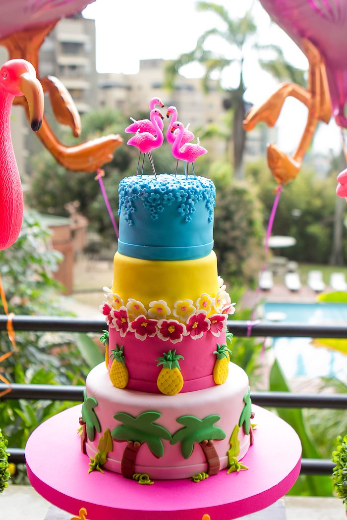 Cake from a Flamingo Garden Party via Kara's Party Ideas - KarasPartyIdeas.com (25)