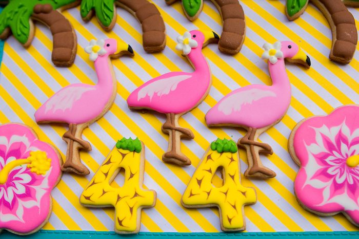Tropical Cookies from a Flamingo Garden Party via Kara's Party Ideas - KarasPartyIdeas.com (23)