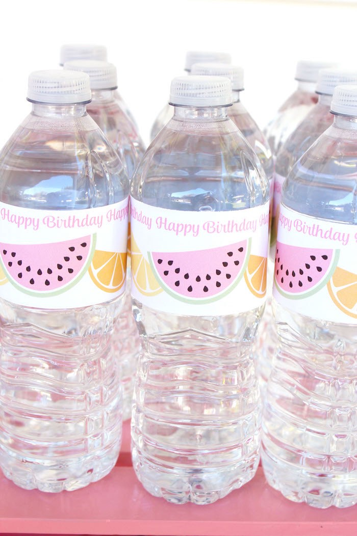 Water Bottles from a Fruity Lemonade Stand Birthday Party via Kara's Party Ideas | KarasPartyIdeas.com (54)