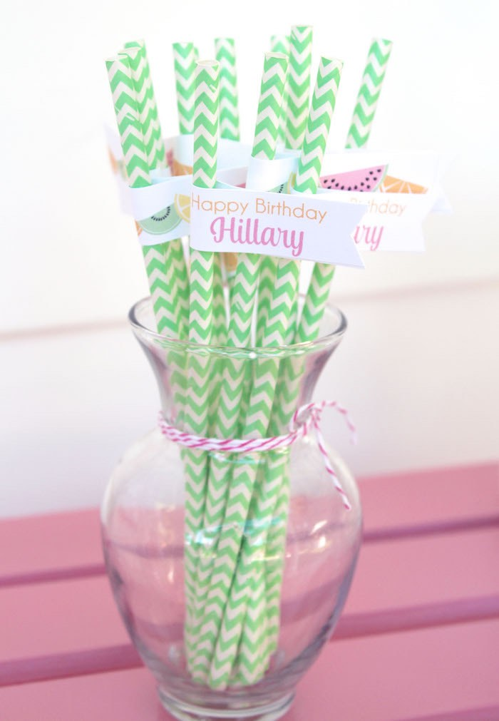 Straws from a Fruity Lemonade Stand Birthday Party via Kara's Party Ideas | KarasPartyIdeas.com (52)