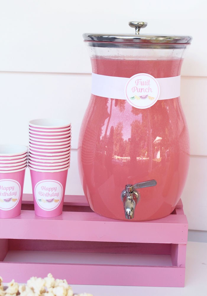 Drink Dispenser + Cups from a Fruity Lemonade Stand Birthday Party via Kara's Party Ideas | KarasPartyIdeas.com (51)