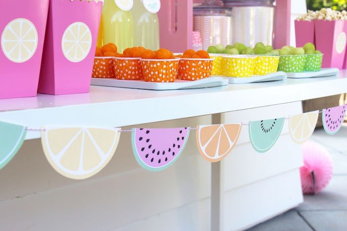 Fruit Cups + Banner from a Fruity Lemonade Stand Birthday Party via Kara's Party Ideas | KarasPartyIdeas.com (50)