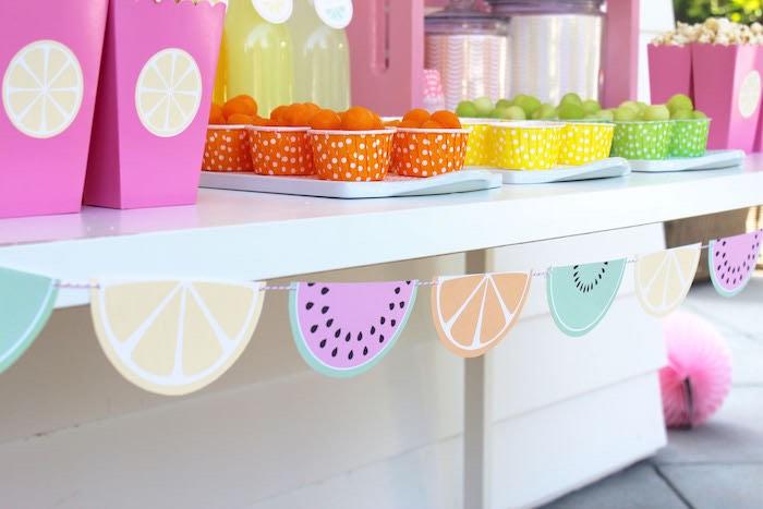 Fruit Cups + Banner from a Fruity Lemonade Stand Birthday Party via Kara's Party Ideas | KarasPartyIdeas.com (50)