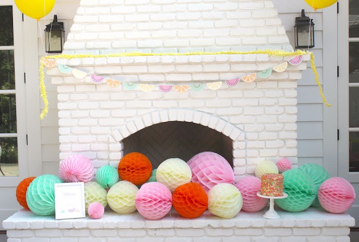Adorned Fireplace from a Fruity Lemonade Stand Birthday Party via Kara's Party Ideas | KarasPartyIdeas.com (47)