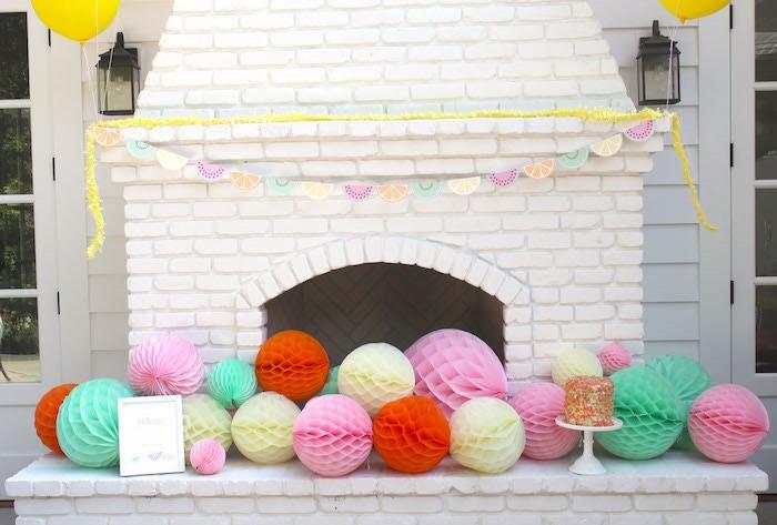 Adorned Fireplace from a Fruity Lemonade Stand Birthday Party via Kara's Party Ideas | KarasPartyIdeas.com (47)