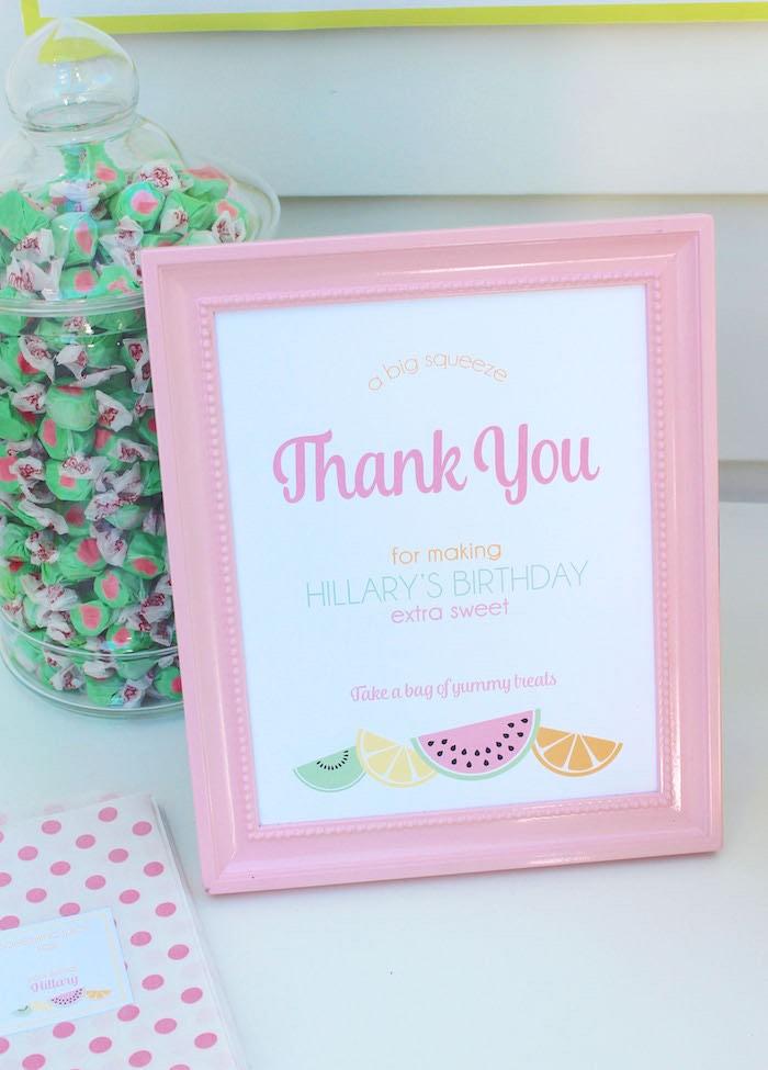 Sign + Stationery from a Fruity Lemonade Stand Birthday Party via Kara's Party Ideas | KarasPartyIdeas.com (44)