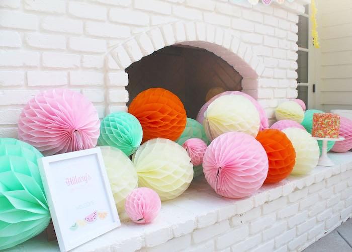 Tissue Ball Decorations from a Fruity Lemonade Stand Birthday Party via Kara's Party Ideas | KarasPartyIdeas.com (37)