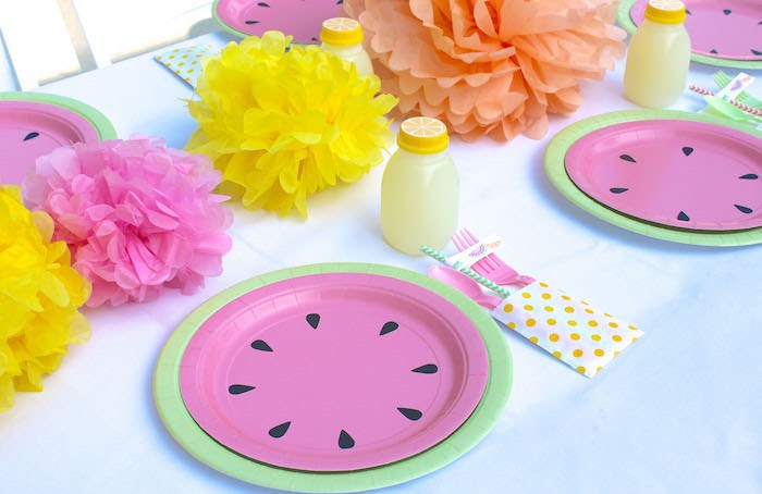 Place Setting from a Fruity Lemonade Stand Birthday Party via Kara's Party Ideas | KarasPartyIdeas.com (35)