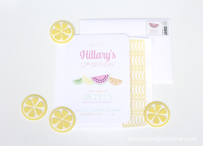 Invitation from a Fruity Lemonade Stand Birthday Party via Kara's Party Ideas | KarasPartyIdeas.com (62)