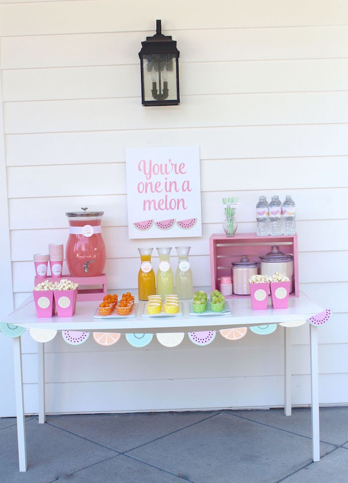 Drink + Snack Table from a Fruity Lemonade Stand Birthday Party via Kara's Party Ideas | KarasPartyIdeas.com (34)