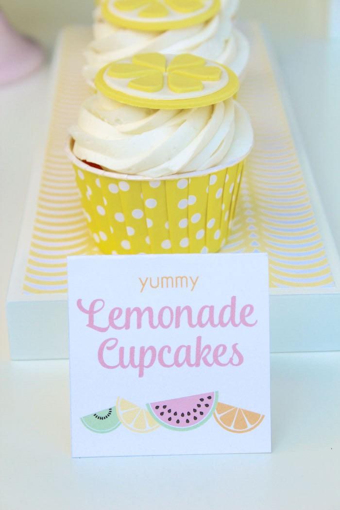 Lemonade Cupcakes from a Fruity Lemonade Stand Birthday Party via Kara's Party Ideas | KarasPartyIdeas.com (29)
