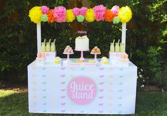 Sweet Table + Stand from a Fruity Lemonade Stand Birthday Party via Kara's Party Ideas | KarasPartyIdeas.com (28)
