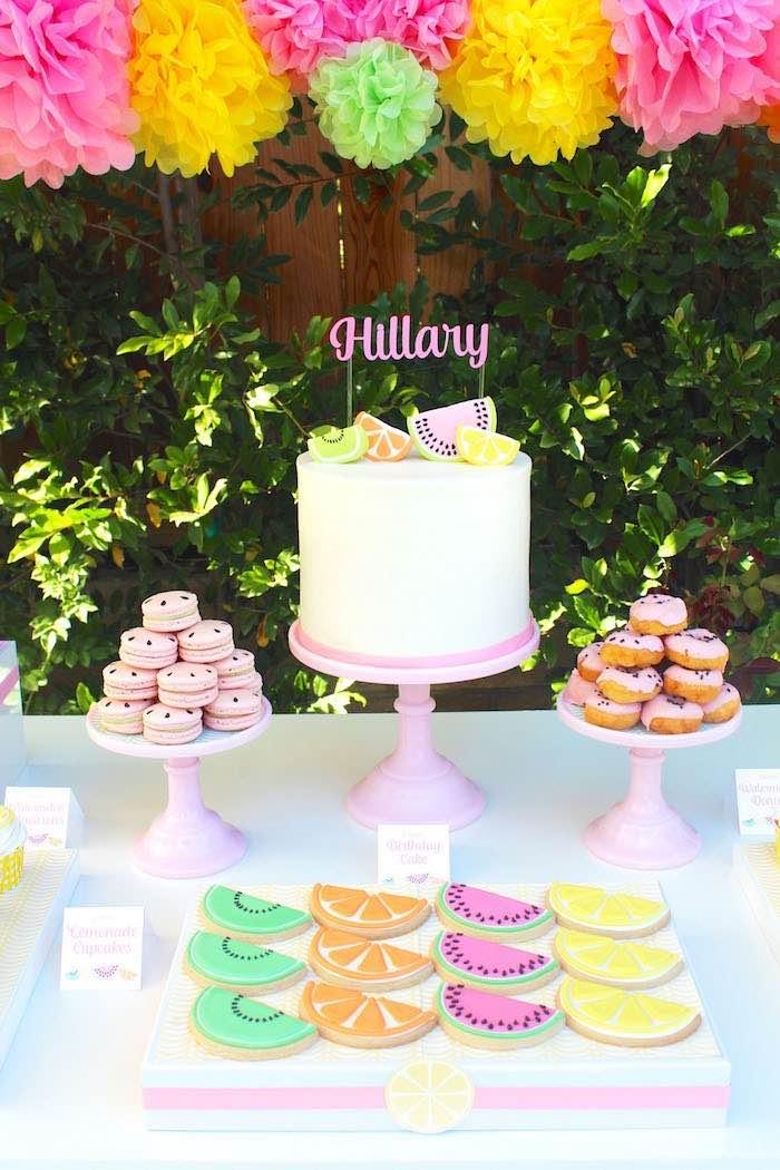 Cake + Sweets from a Fruity Lemonade Stand Birthday Party via Kara's Party Ideas | KarasPartyIdeas.com (26)
