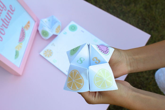 Fruity Fortune Teller from a Fruity Lemonade Stand Birthday Party via Kara's Party Ideas | KarasPartyIdeas.com (25)