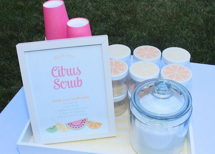 Citrus Scrub Activity Station from a Fruity Lemonade Stand Birthday Party via Kara's Party Ideas | KarasPartyIdeas.com (61)