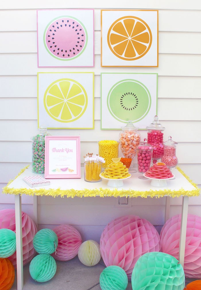 Candy Buffet Table from a Fruity Lemonade Stand Birthday Party via Kara's Party Ideas | KarasPartyIdeas.com (23)