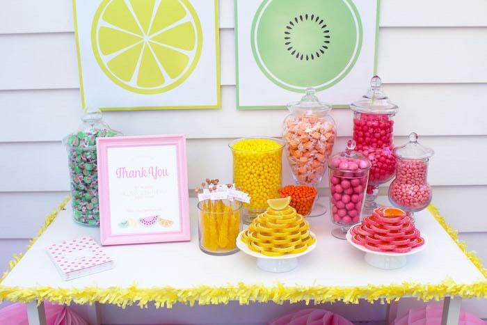 Candy Buffet from a Fruity Lemonade Stand Birthday Party via Kara's Party Ideas | KarasPartyIdeas.com (22)