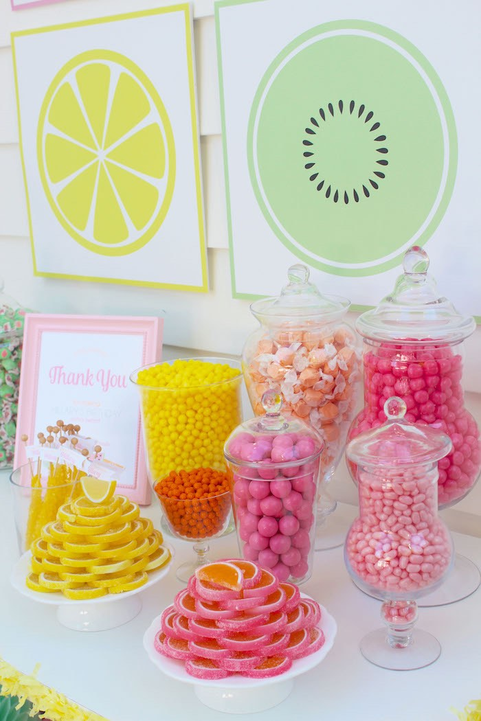 Candy Buffet from a Fruity Lemonade Stand Birthday Party via Kara's Party Ideas | KarasPartyIdeas.com (21)