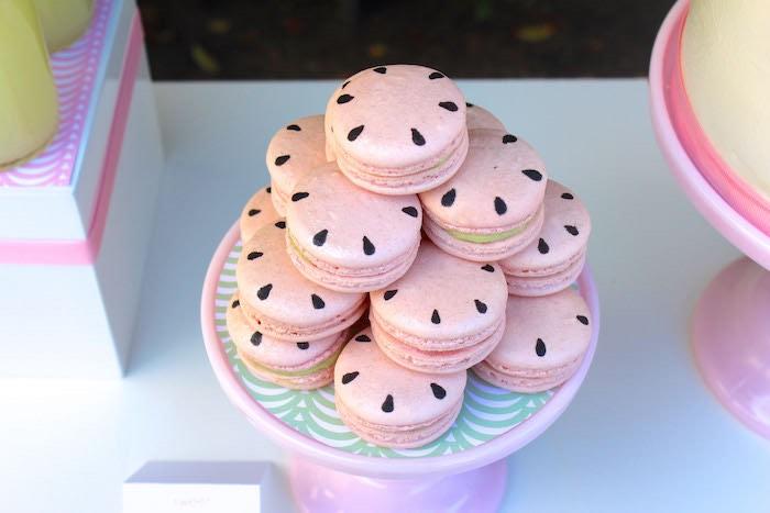 Watermelon Macarons from a Fruity Lemonade Stand Birthday Party via Kara's Party Ideas | KarasPartyIdeas.com (20)