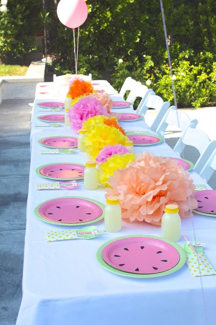Dining Tablescape from a Fruity Lemonade Stand Birthday Party via Kara's Party Ideas | KarasPartyIdeas.com (18)