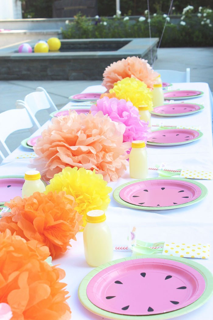 Dining + Guest Tablescape from a Fruity Lemonade Stand Birthday Party via Kara's Party Ideas | KarasPartyIdeas.com (17)