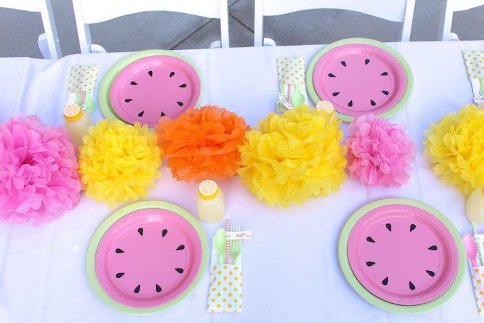 Dining Tabletop from a Fruity Lemonade Stand Birthday Party via Kara's Party Ideas | KarasPartyIdeas.com (16)