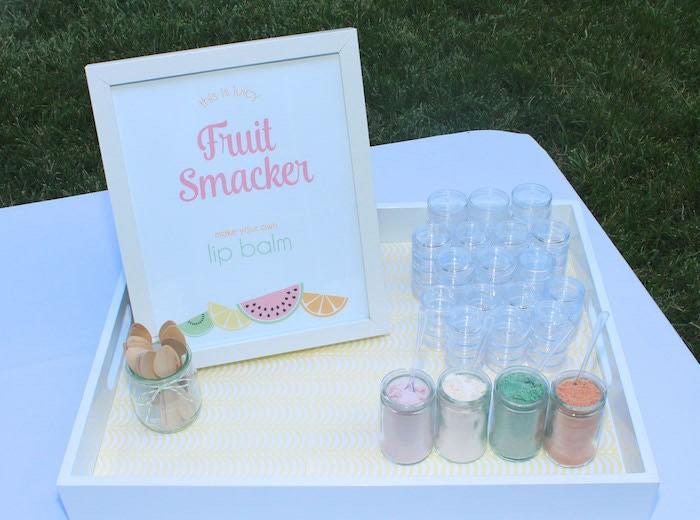 Lip Balm Making Station from a Fruity Lemonade Stand Birthday Party via Kara's Party Ideas | KarasPartyIdeas.com (60)