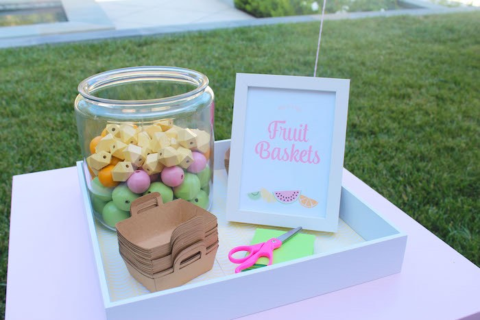 Fruit Basket Activity Station from a Fruity Lemonade Stand Birthday Party via Kara's Party Ideas | KarasPartyIdeas.com (14)