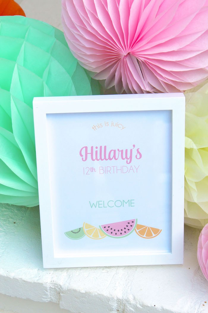 Sign + Stationery from a Fruity Lemonade Stand Birthday Party via Kara's Party Ideas | KarasPartyIdeas.com (13)