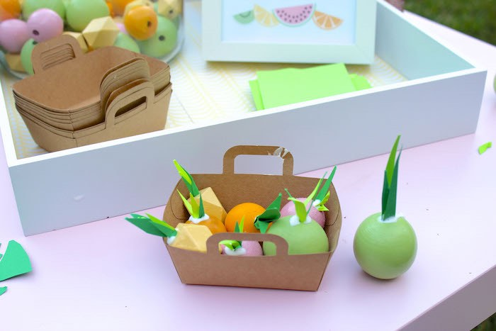 Fruit Basket + Activity from a Fruity Lemonade Stand Birthday Party via Kara's Party Ideas | KarasPartyIdeas.com (8)