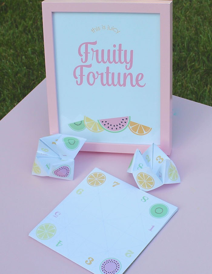 Fruity Fortune Activity Station from a Fruity Lemonade Stand Birthday Party via Kara's Party Ideas | KarasPartyIdeas.com (59)