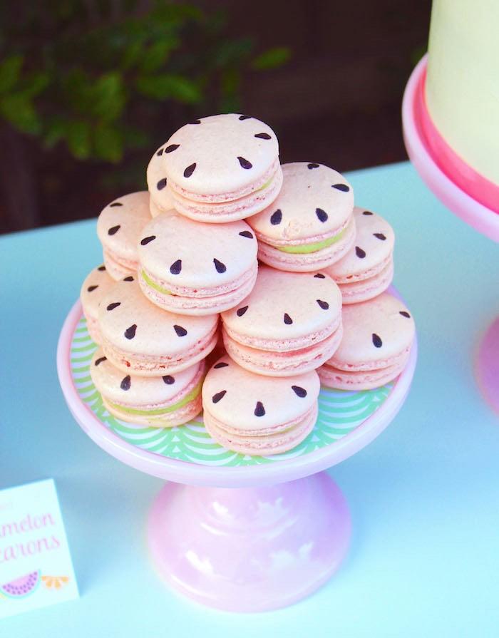Watermelon-inspired Macarons from a Fruity Lemonade Stand Birthday Party via Kara's Party Ideas | KarasPartyIdeas.com (4)