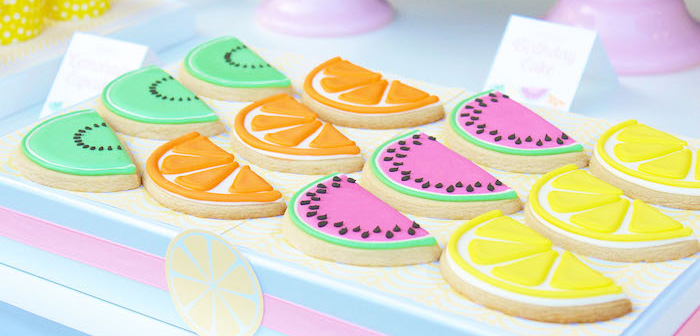 Cookies from a Fruity Lemonade Stand Birthday Party via Kara's Party Ideas | KarasPartyIdeas.com (1)