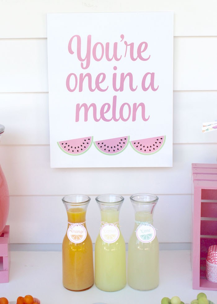 Drink Table Details + Signage from a Fruity Lemonade Stand Birthday Party via Kara's Party Ideas | KarasPartyIdeas.com (58)