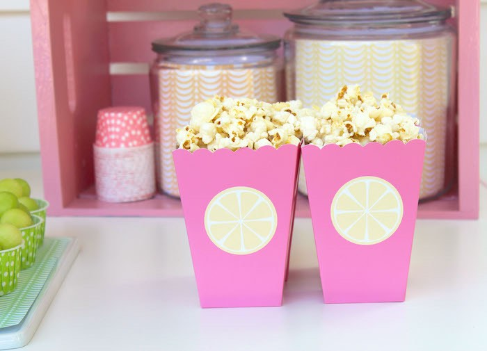 Popcorn Favor Boxes from a Fruity Lemonade Stand Birthday Party via Kara's Party Ideas | KarasPartyIdeas.com (56)