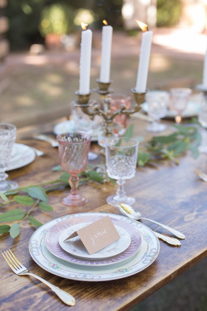 place setting from a garden bridal shower via karas party ideas karaspartyideascom