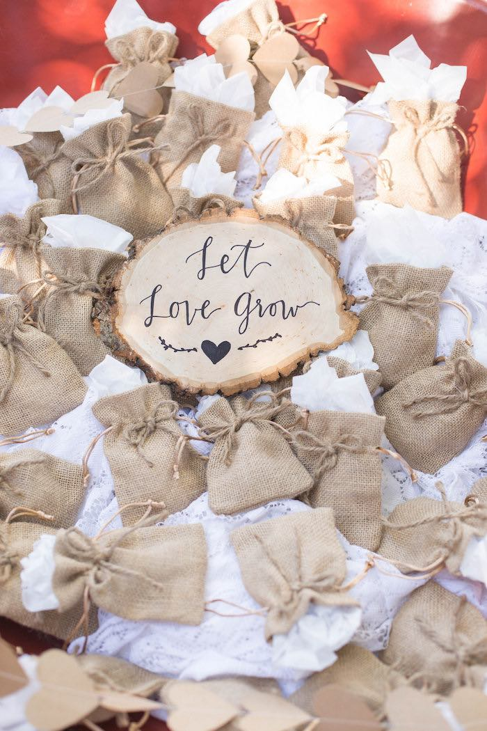 Burlap Favor Sacks from a Garden Bridal Shower via Kara's Party Ideas | KarasPartyIdeas.com (40)