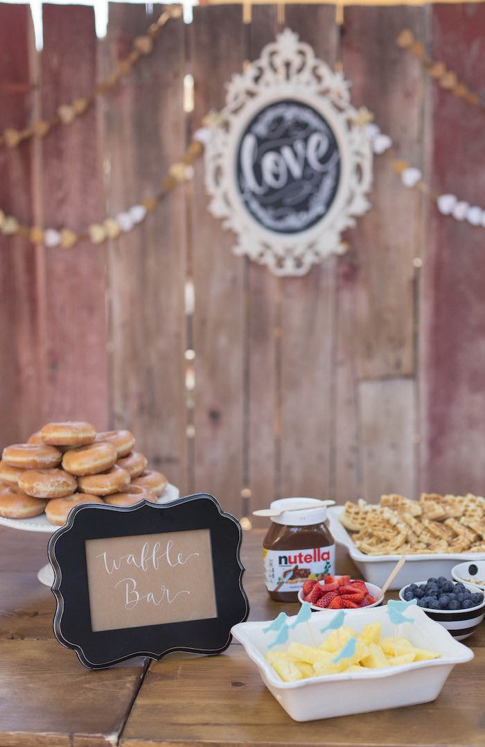 Waffle Bar from a Garden Bridal Shower via Kara's Party Ideas | KarasPartyIdeas.com (32)