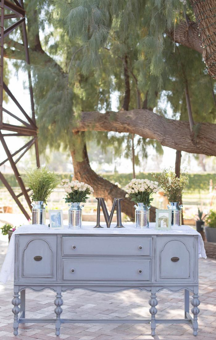 Decor Table from a Garden Bridal Shower via Kara's Party Ideas | KarasPartyIdeas.com (52)