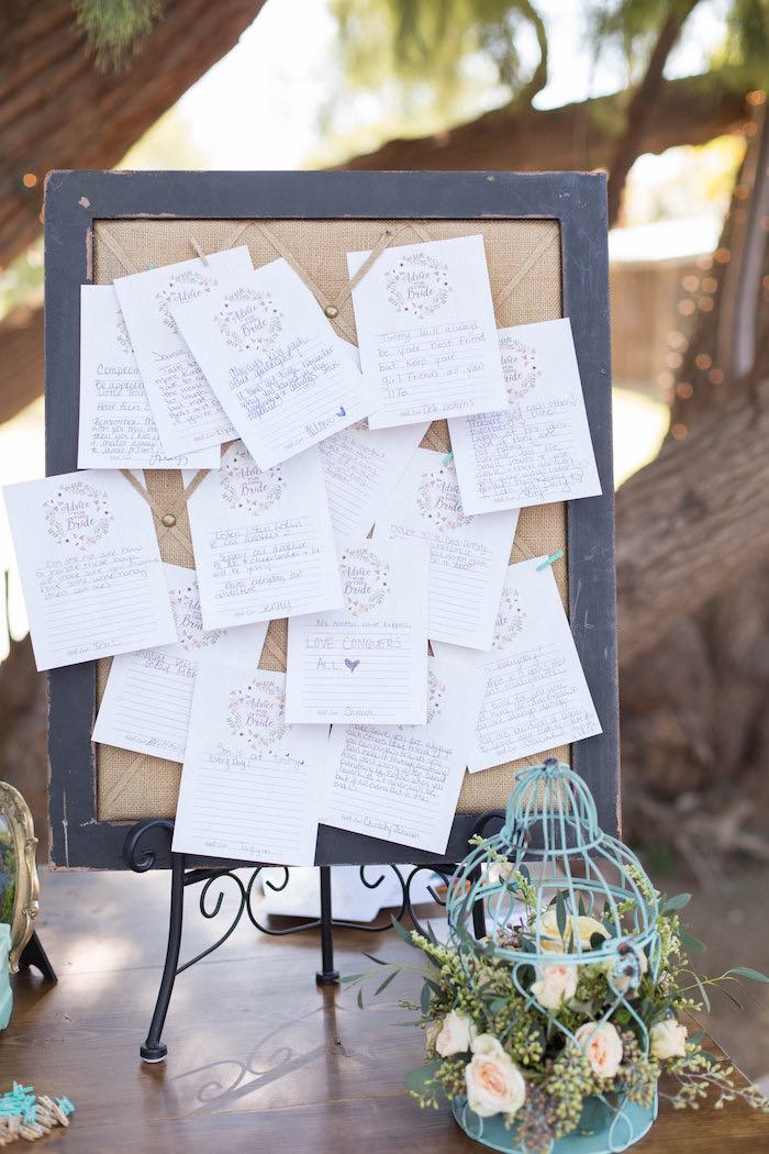 Outdoor Bridal Shower Ideas Part - 40: Bulletin Board Full Of Advice For The Bride From A Advice For The Bride  From A