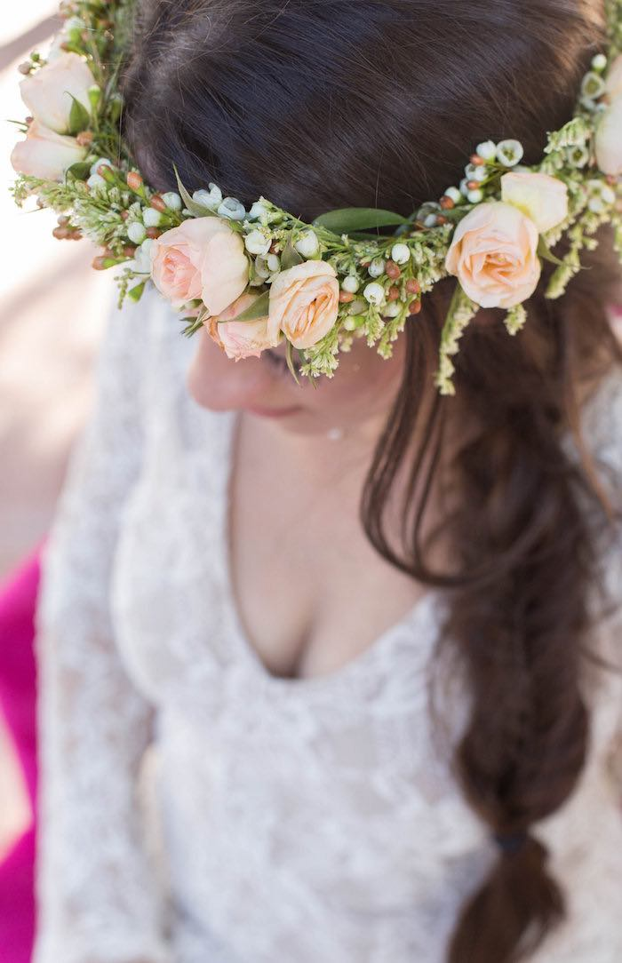 Bride-to-Be wearing a Floral Crown from a Garden Bridal Shower via Kara's Party Ideas | KarasPartyIdeas.com (8)