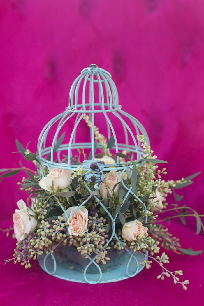 Cage of Florals from a Garden Bridal Shower via Kara's Party Ideas | KarasPartyIdeas.com (7)