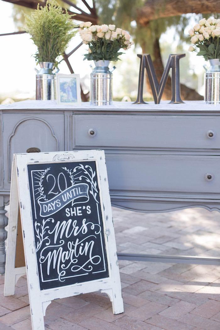 chalkboard sign decor table from a garden bridal shower via karau0027s party ideas