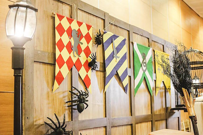 House Banners From A Harry Potter Birthday Party Via Karau0027s Party Ideas |  KarasPartyIdeas.com