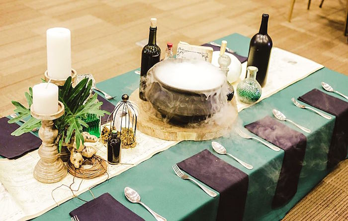 Guest Table Details from a Harry Potter Birthday Party via Kara's Party Ideas | KarasPartyIdeas.com | The Place for All Things Party! (43)