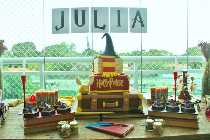 Close-up view of a Sweet Table from a Harry Potter Birthday Party via Kara's Party Ideas | KarasPartyIdeas.com (29)