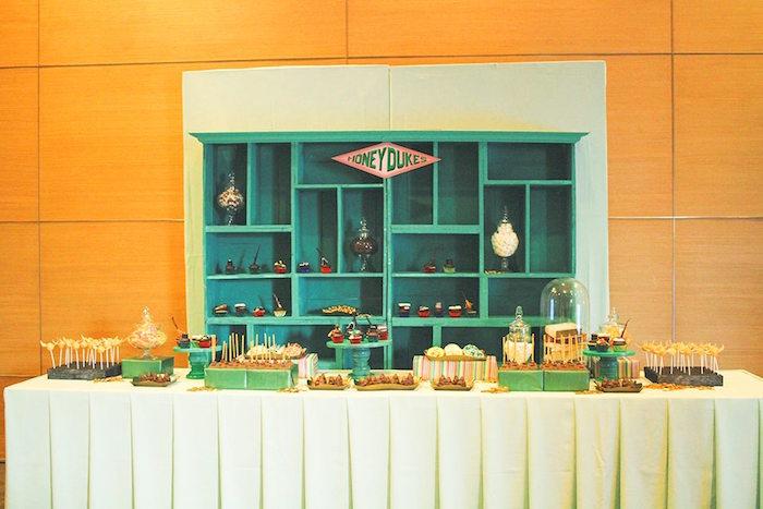 Honey Dukes Dessert Table from a Harry Potter Birthday Party via Kara's Party Ideas | KarasPartyIdeas.com | The Place for All Things Party! (42)